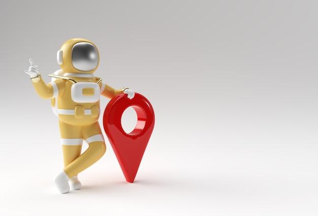 Astronaute de rendu 3d avec la conception d'illustration 3d de pointeur de carte.