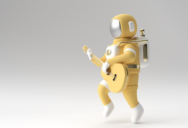 Astronaute de rendu 3d dans la conception d'illustration 3d de guitare.