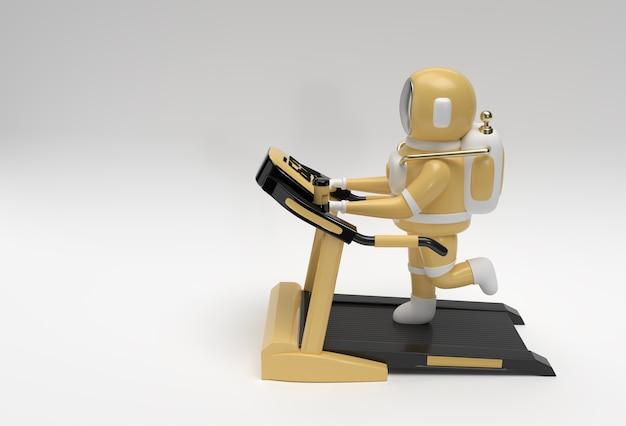 Astronaute de rendu 3d exécutant une machine de tapis roulant sur un fond futuriste.