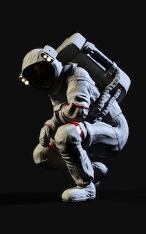 Astronaute de rendu 3d sur fond noir
