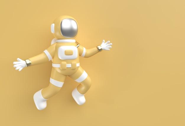 Astronaute de rendu 3d sautant en action illustration 3d design.