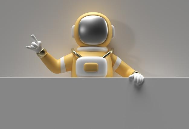 Astronaute de rendu 3d tenant une bannière blanche sur un fond blanc.