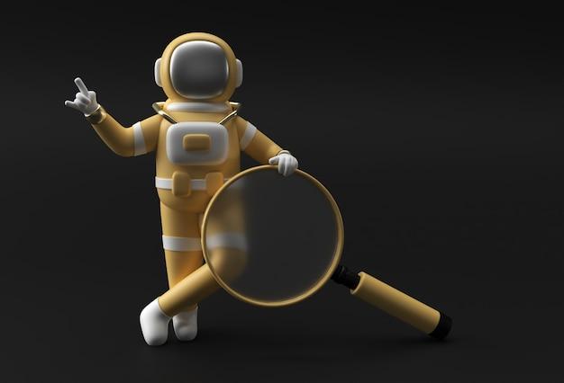 Astronaute de rendu 3d tenant une loupe sur un fond noir.