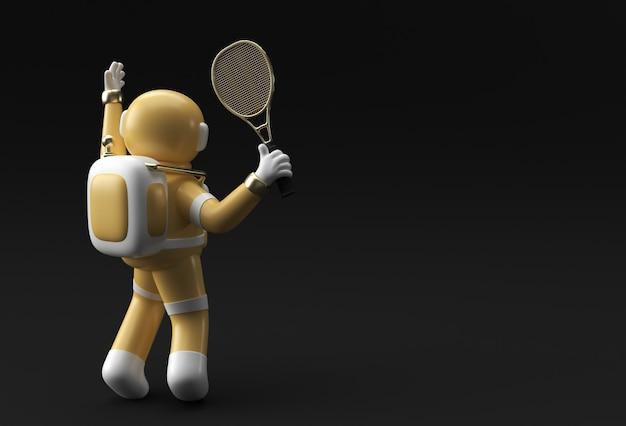 Astronaute de spaceman de rendu 3d jouant au tennis, conception d'illustration 3d.