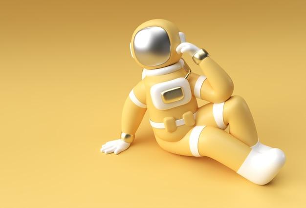 L'astronaute de spaceman de rendu 3d pense, la déception, la conception d'illustration 3d du geste caucasien fatigué.
