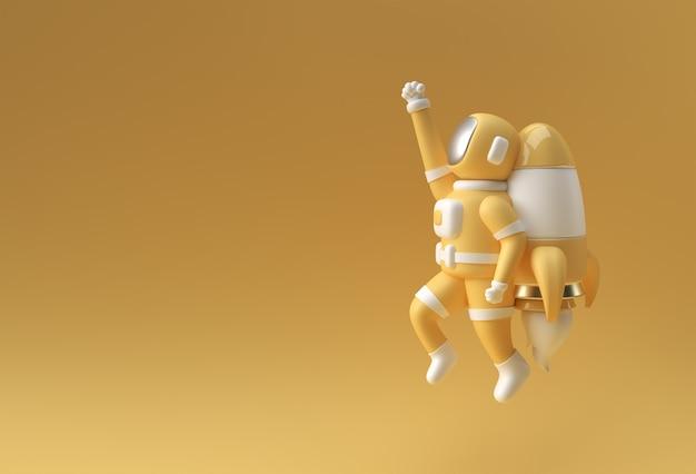 Astronaute de spaceman de rendu 3d volant avec la conception d'illustration 3d de fusée.
