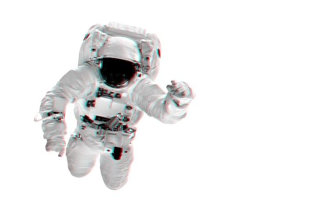 L'astronaute survole les blancs