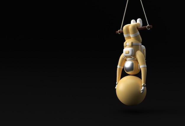 Astronaute suspendu à une corde avec une boule de stabilité faisant des exercices, illustration de rendu 3d.