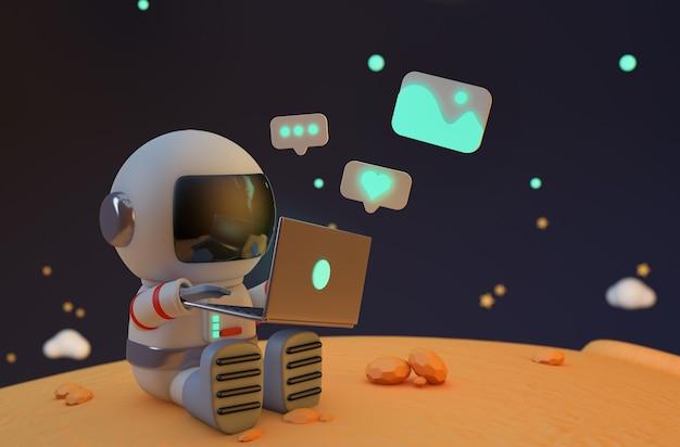 Astronaute travaillant sur ordinateur portable