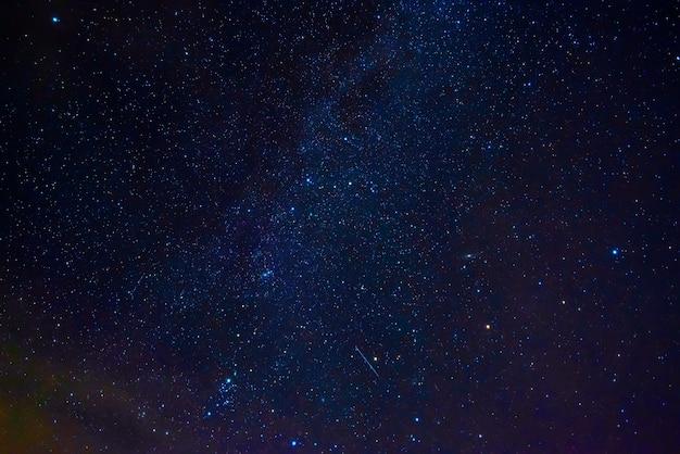 Astrophotographie du ciel étoilé bleu foncé avec de nombreuses étoiles, nébuleuses et galaxies