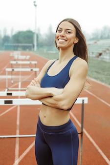 Athlète portant un sportwear bleu