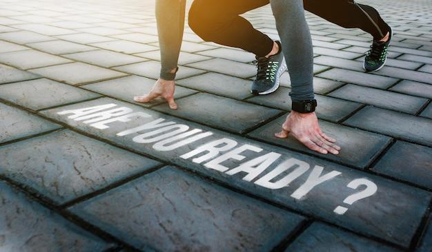 Athlète prêt à courir avec le message êtes-vous prêt