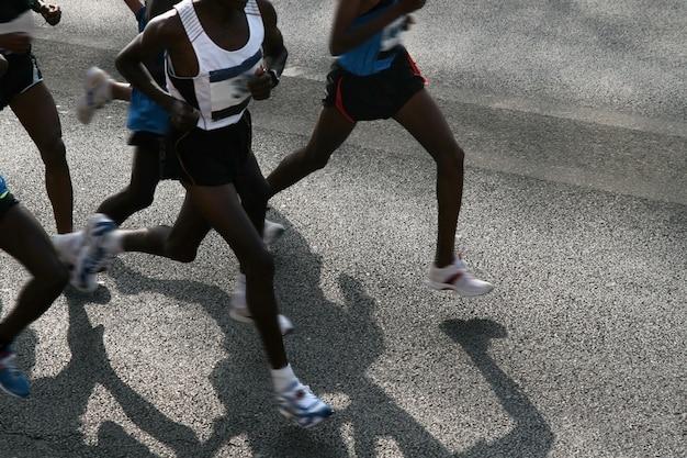 Athlètes courir un marathon