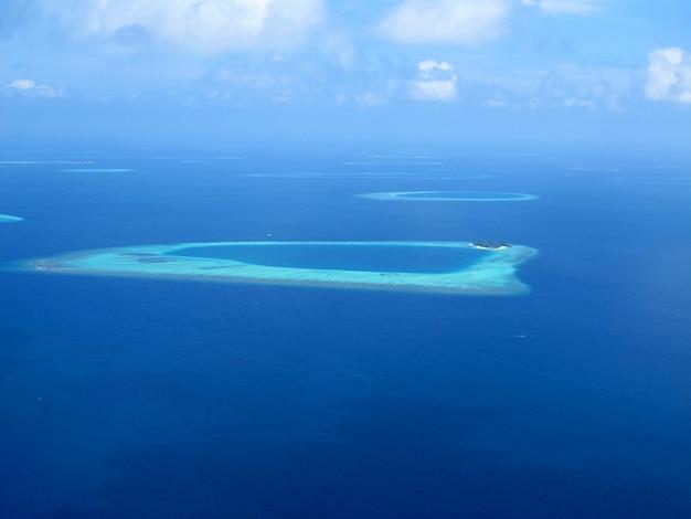 Atoll des maldives, la vue depuis l'avion