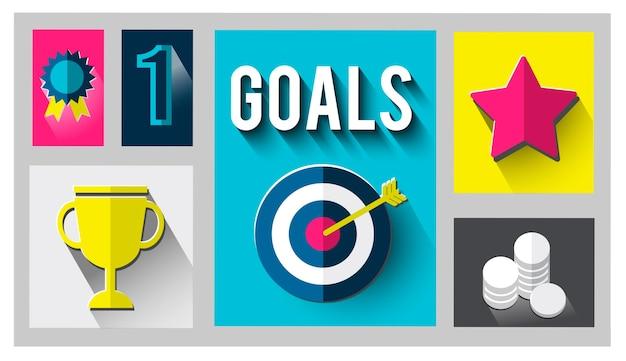 Atteinte des objectifs gagnant réussi concept cible