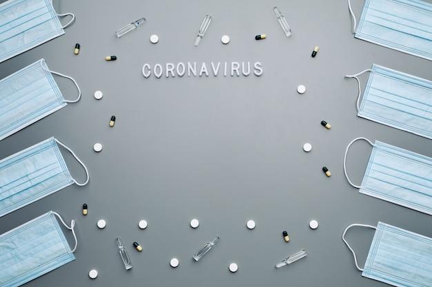 Au-dessus de la composition des masques médicaux encadrant le mot coronavirus et les médicaments disposés sur fond gris,