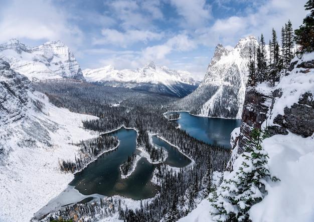 Au-dessus du plateau d'opabin avec les rocheuses canadiennes et le lac dans le blizzard lourd au parc national de yoho, canada