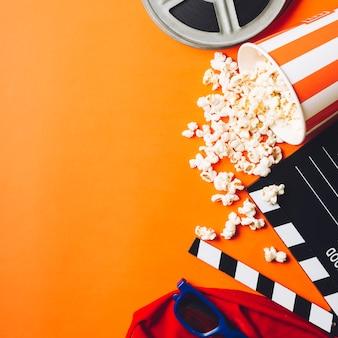 D'au-dessus des fournitures de cinéma