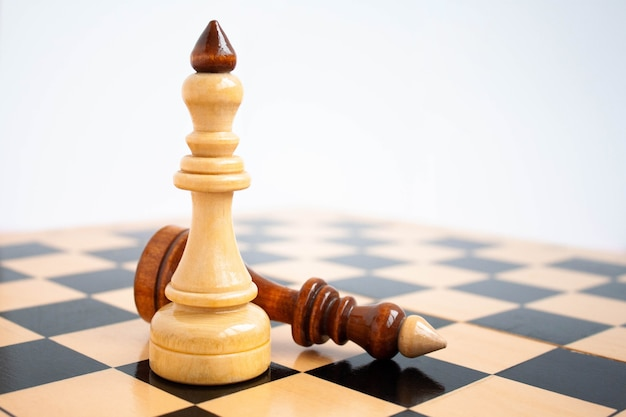 Au premier plan, il y a un roi blanc sur l'échiquier, et un roi noir se trouve à côté de lui