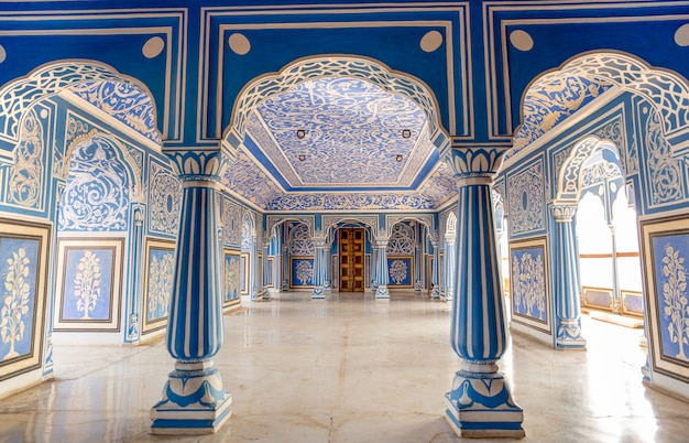Au sukh niwas blue room, city palace, jaipur, inde.