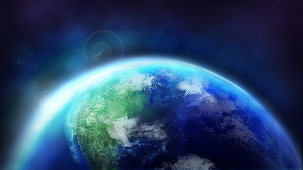 L'aube sur le globe terrestre est à moitié illuminée par le soleil