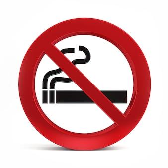 Aucun signe de fumer isolé sur fond blanc rendu 3d.