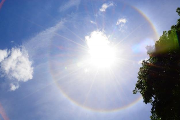 Auréole de soleil avec fond de ciel bleu