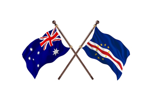 Australie contre cabo verde flags background