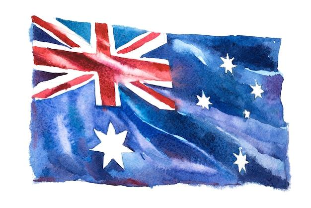Australie, drapeau australien. illustration aquarelle dessinée à la main.