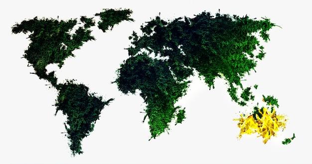L'australie en feu. planète verte et continent brûlant. désastre écologique. le réchauffement climatique.