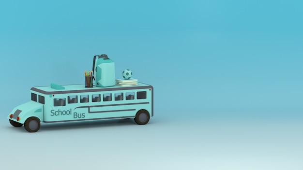 Autobus scolaire 3d, cartable, crayons, crayons de couleur et livres avec espace cyan