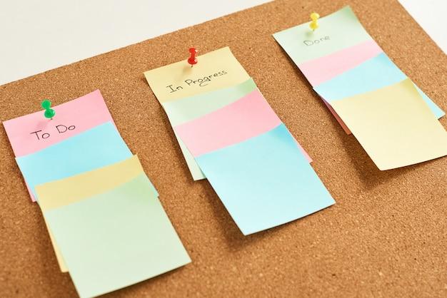 Autocollants en papier de couleur avec des mots à faire, en cours et réalisés sur des panneaux de liège, concept de planification