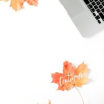 Automne automne. cadre d'espace de travail de bureau à domicile