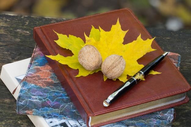 L'automne. carnet à feuilles jaunes et noyer. vue de dessus