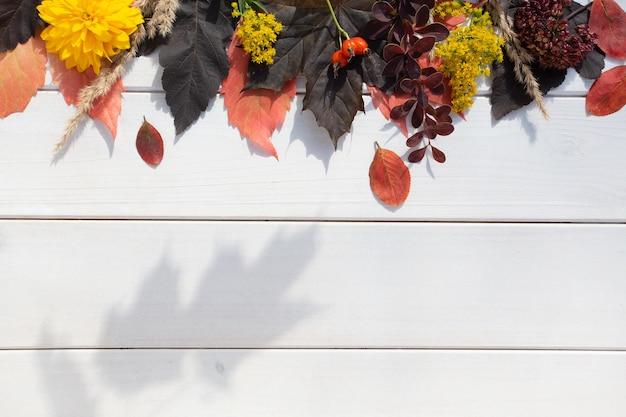 Automne plat posé avec une main féminine, feuilles d'automne colorées, baies, herbe séchée et fleurs