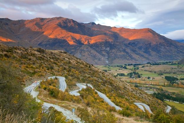 Autoroute, montagne, nouvelle zélande