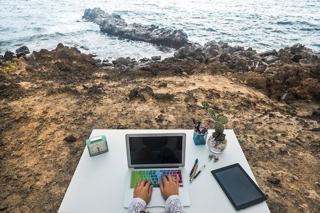 Autre poste de travail d'entreprise de technologie happy destop inhabituelle avec vue sur l'océan