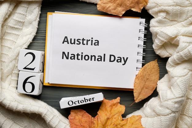 Autriche fête nationale de l'automne calendrier mois octobre