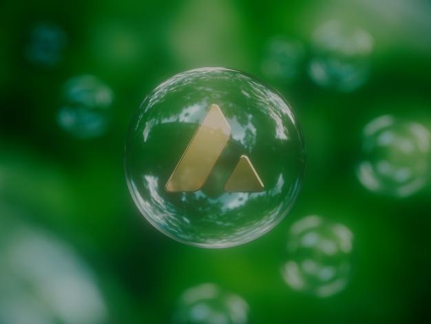 Avalanche, bulle économique, instable, crypto monnaie, nature, 3d, illustration, rendre