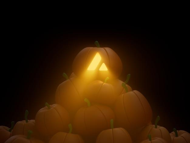 Avalanche sculpté potiron pile pile crypto monnaie 3d illustration rendu éclairage sombre