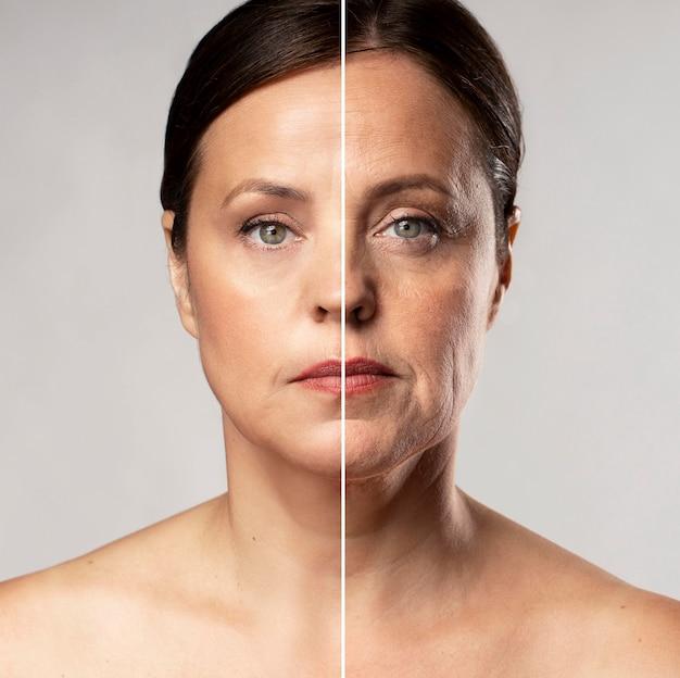 Avant et après le portrait de femme mûre retouché