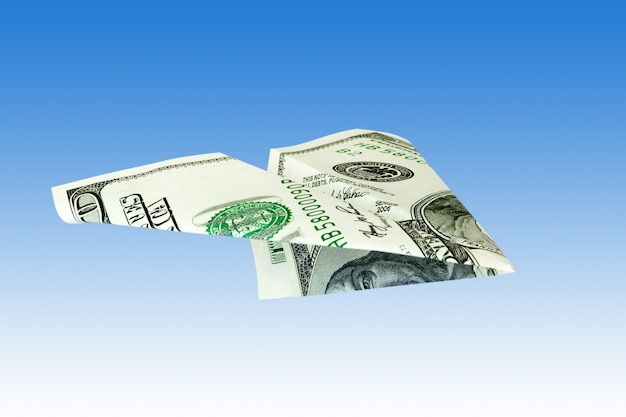 Avion d'argent du dollar usa
