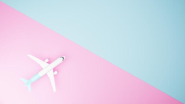 Avion blanc sur fond bleu et rose, vue de dessus. rendu 3d