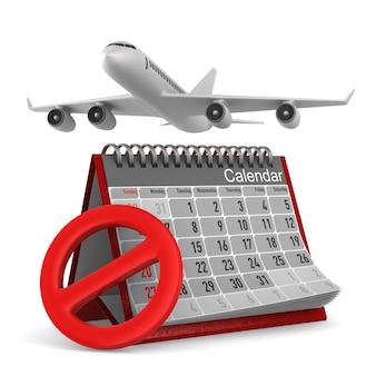 Avion et calendrier sur blanc