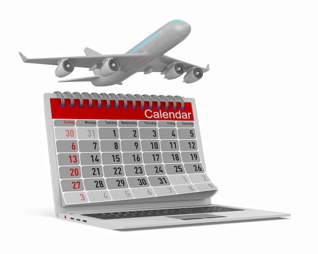 Avion et calendrier isolé sur blanc illustration 3d