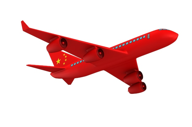 Avion chinois sur blanc