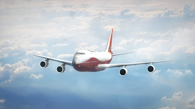 Avion dans le ciel illustration 3d