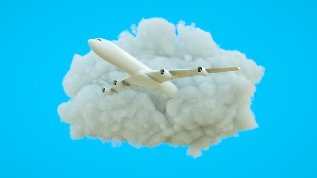 Avion décollant d'un nuage sur fond bleu symbolisant les voyages et les loisirs