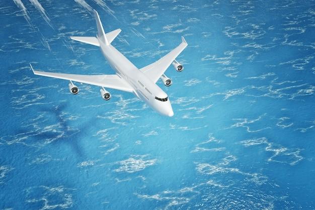L'avion du passager white jet survole l'océan en gros plan extrême. rendu 3d.