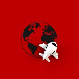 Avion et globe sur rouge